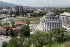 Panorama à cidade de Skopje da fortaleza na cidade velha, república da couve da fortaleza de Imagens de Stock