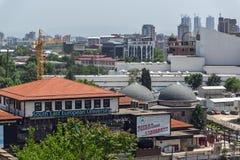 Panorama à cidade de Skopje da fortaleza na cidade velha, república da couve da fortaleza de Fotografia de Stock Royalty Free