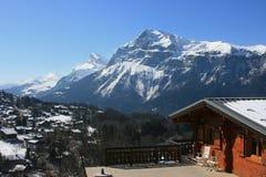 Panorama à Pointe Percee, Alpes français Photographie stock libre de droits