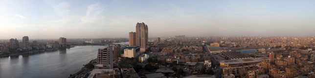 Panorama à travers l'horizon du Caire Image stock