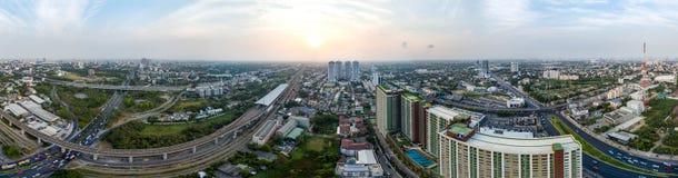 Panorama 360° Bangkok-Autobahn zu Suvarnabhumi-Flughafen Lizenzfreie Stockfotografie