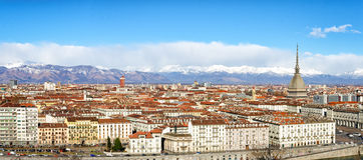 Panorama élevé de définition de Turin (Torino) Images stock
