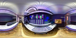Panorama équidistant dans le fourgon de 360 ob Images libres de droits