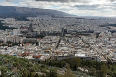 Panorama étonnant de la ville d'Athènes de colline de Lycabettus, Grèce Images libres de droits