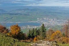 Panorama étonnant de luzerne de lac, Suisse Photographie stock libre de droits