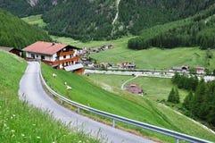 panorama- Österrike soelden för att visa Arkivfoton