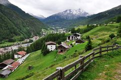 panorama- Österrike soelden för att visa Arkivbild