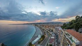 Panorama über Nizza Stadt und Mittelmeerluft- Tag zum Nacht-timelapse stock video