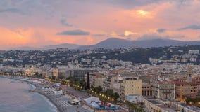 Panorama über Nizza Stadt und Mittelmeerluft- Tag zum Nacht-timelapse stock footage