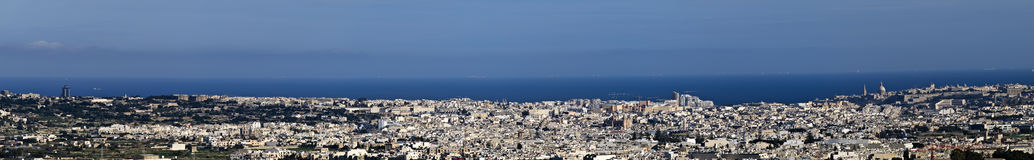 Panorama. View of Malta as seen from the bastions of the old city of Mdina Stock Photos