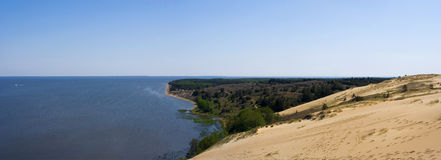 Panorama. Panoramic view of the dunes with baltic sea coast. location: nida, lithuania Royalty Free Stock Photography