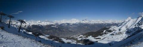 Panorama 3 della valle del Aosta Immagine Stock Libera da Diritti