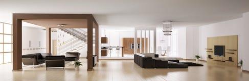 Panorama 3d del apartamento stock de ilustración