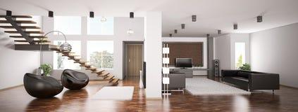 Panorama 3d do apartamento Imagens de Stock Royalty Free