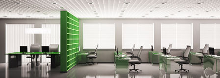 Panorama 3d do escritório Imagens de Stock Royalty Free