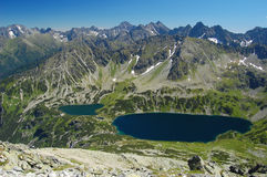 Panorama of 5 lakes valley in High Tatras Stock Image