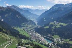 Panorama aéreo bonito de switzerland com cidade Imagem de Stock Royalty Free