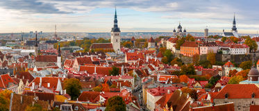 Panorama aéreo da cidade velha, Tallinn, Estônia imagens de stock royalty free