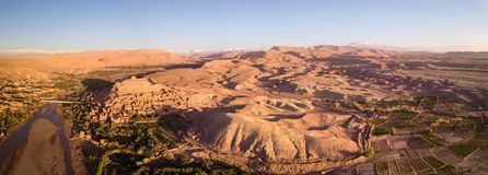 Panorama aéreo de Ait Ben Haddou em Marrocos Imagem de Stock Royalty Free