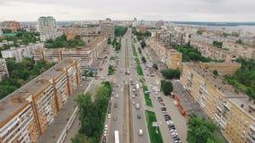 Panorama aéreo de la ciudad moderna en Rusia, arquitectura moderna, edificios de apartamentos almacen de metraje de vídeo