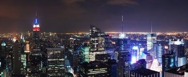 Panorama aéreo de la escena de la noche de New York City Imagen de archivo libre de regalías