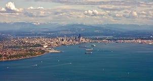 Panorama aéreo de Seattle Imagens de Stock