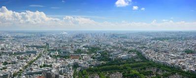 Panorama aéreo del este del cloudscape de París Fotos de archivo libres de regalías