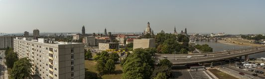 Panorama aéreo del horizonte de Dresden Fotografía de archivo
