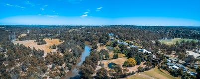 Panorama aéreo do rio de Yarra fotografia de stock