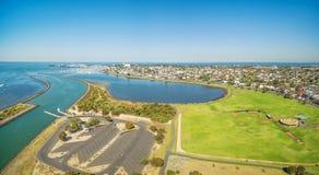 Panorama aérien de baie de Greenwich et de réservation, Williamstown Subu Photo stock