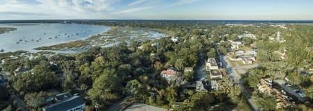 Panorama aérien de Beaufort, la Caroline du Sud, Images stock