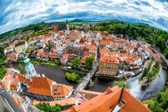 Panorama aérien de Cesky Krumlov La Bohême du sud, République Tchèque images stock