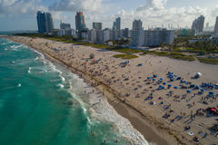 Panorama aérien de week-end de Jour du Souvenir de Miami Beach Images stock