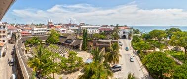 Panorama aan het Oude fort bij Steenstad, Zanzibar, Tanzania Royalty-vrije Stock Foto's