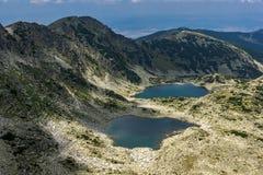 Panorama aan Musalenski-meren van Musala-Piek, Rila-berg Royalty-vrije Stock Foto