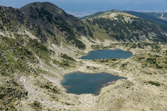 Panorama aan Musalenski-meren van Musala-Piek, Rila-berg Stock Afbeeldingen