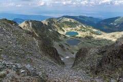 Panorama aan Musalenski-meren van Musala-Piek, Rila-berg Royalty-vrije Stock Foto's