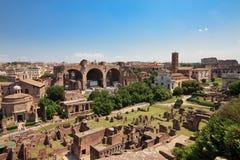Panorama aan Roman ruïnes van het Forum Royalty-vrije Stock Foto