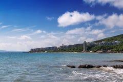 Panorama aan van het overzeese het Strand toevluchtparadijs, Bulgarije Stock Foto's