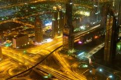 Panorama abajo de la ciudad Dubai Imagen de archivo
