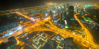 Panorama abajo de la ciudad Dubai - UAE Imágenes de archivo libres de regalías