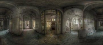 Panorama abandonado do corredor foto de stock
