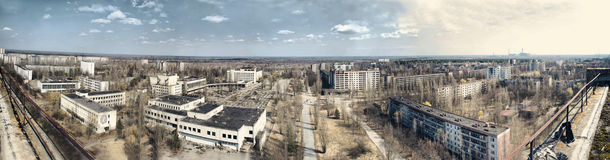 Panorama of abandoned Chernobyl from rooftop on nuclear power pl. Panorama of abandoned city Ptyniat in Chernobyl from the rooftop on the nuclear power plant on Stock Photo