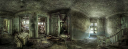 Panorama in an abandoned complex royalty free stock photo
