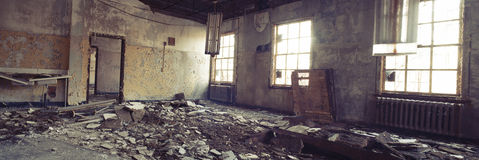 Panorama of Abandoned Room Stock Photography