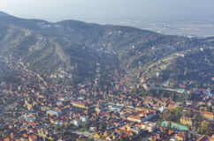 Panorama from above of Brasov, Romania stock photos