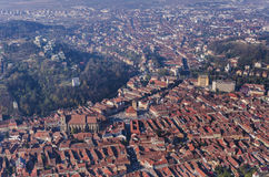 Panorama from above of Brasov, Romania stock photography