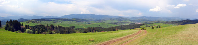 A panorama above Malatina, Orava, Slovakia Royalty Free Stock Images