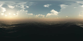 Panorama above the ocean at sunset Stock Photo