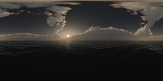 Panorama above the ocean at sunset Royalty Free Stock Image